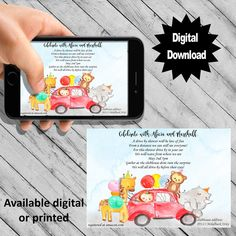 Drive by safari animal baby shower invitation for a quarantine Birthday Party Invitations, Baby Shower Invitations, Wedding Invitations, Safari Animals, Baby Animals, Baby Prints, Animal Party, Bb, Template
