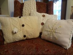How to recycle Goodwill sweaters into cushions and more!