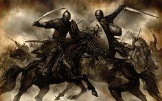 Un guerrero musulmán combatiendo contra otro cristiano, posiblemente germano. Más en www.elgrancapitan.org/foro