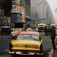 1950s New York City street scene