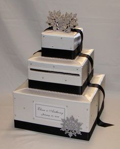 White And Black Winter Snowflake Theme Wedding Card Box Any Color Can Be Made
