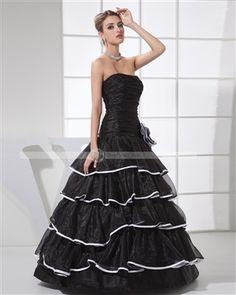 Amylinda Strapless Pleated Layered Flower Floor Length Organza & Silk & Charmeuse Woman Quinceanera Dress - DinoDirect.com