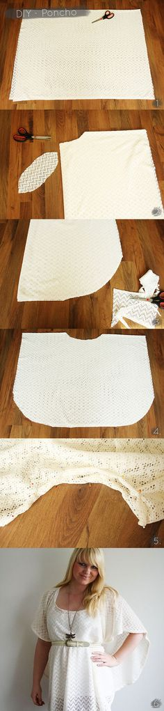 DIY - Really easy poncho or sew part of sides for beach cover