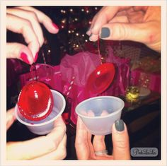 cherries in jello shots for easy removal!