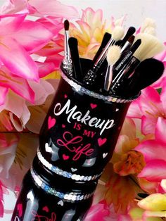 Makeup Brush Holder Glam Vanity Gift For Her Vanity Cup Makeup Jars, Glam Makeup, Diy Makeup, Makeup Brushes, Makeup Room Decor, Makeup Brush Holders, Beauty Art, Resin Crafts, Svg Cuts