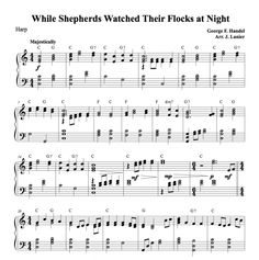 $1.50 Harp Music: While Shepherds Watched Their Flocks at Night for Harp