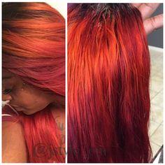 Custom colored bundles Pravana color line Red & orange hair Instagram: jstyle_em Facebook: Jstyle'Em