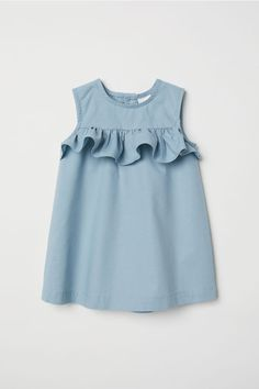 Flounced Cotton Dress - Baby Girl Dress - Ideas of Baby Girl Dress - Flounced Cotton Dress Light turquoise Kids Baby Dress Design, Baby Girl Dress Patterns, Little Girl Dresses, Baby Dresses, Dress Girl, Peasant Dresses, Dresses For Kids, Dresses Dresses, Trendy Dresses