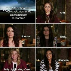 Maybe Moana or Hanna. I feel like I'm already a lot like Spencer so is need someone that's a lot different.