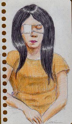 眼帯のお姉さん(通勤電車でスケッチ) It is a sketch of a woman wearing the eye patch.  I drew in a commuter train.