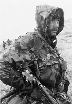 A Royal Marine with his rifle during the march towards Port Stanley during the Falklands Conflict.