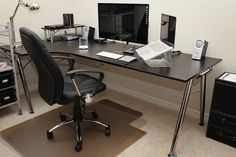 70 Office Workspaces | Inspiration | Part 18 // Simple office desk setup, include a stand for laptop