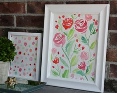 This print looks almost like a stencil and has a very watercolour feel to it. She also uses soft colours to make the flowers look delicate.