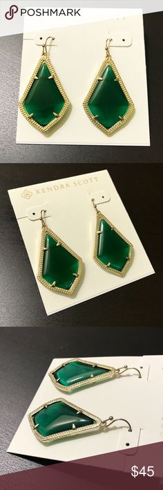 """Kendra Scott Alex earrings emerald green cat eye NWOT Kendra Scott Alex earrings    ● cat's eye Emerald green   ● 1 1/2"""" drop; 1"""" width   ● Gold tone with French wire  Brand new with earrings card, no pouch and gift box.  Please check my store for other color and styles!! Kendra Scott Jewelry Earrings"""