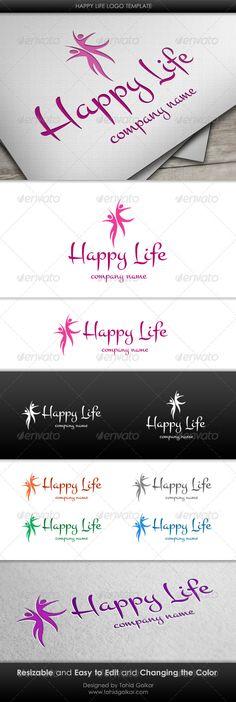 Happy Life Logo Design Template Vector #logotype Download it here: http://graphicriver.net/item/happy-life-logo-template/3211105?s_rank=242?ref=nexion