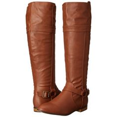 Michael Antonio Boxcar (Whiskey) Women's Boots ($41) ❤ liked on Polyvore featuring shoes, boots, brown, knee-high boots, brown buckle boots, faux-fur boots, knee boots, knee high boots and knee high buckle boots