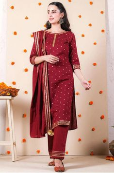 Indian Bollywood Stylish Designer Heavy Rayon Maroon Kurti Pant With Dupatta Set Special For Women/Girls.Free Express Shipping In USA/UK.