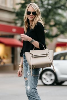 Fashion Jackson, Dallas Blogger, Fashion Blogger, Street Style, Black Bell Sleeve Top, Denim Ripped Mom Jeans, Celine Belt Bag, Celine Aviator Sunglasses