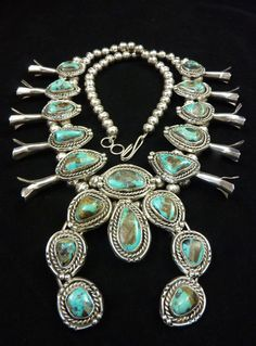 Magnificent 215g Polished Vintage Navajo Sterling Silver Squash Blossom Necklace w FANTASTIC Royston Turquoise! Gorgeous Colors!