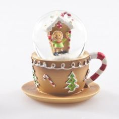 Gisela Graham Christmas Gingerbread Teacup Mini Snow Globe