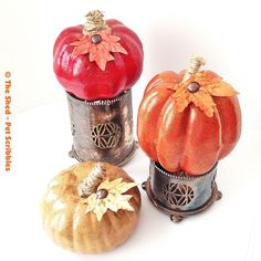 tone on tone pumpkins for fall and thanksgiving, crafts, seasonal holiday decor, thanksgiving decorations, My monochromatic tone on tone pumpkins perched on antique silver cups I snagged at an antique sale