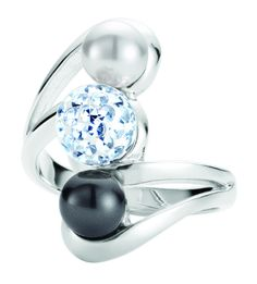 Katy Ring $129 Crystalux, Swarovski crystal pearls, Sterling Silver, Rhodium plated. Sizes 5-10
