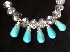 Turquoise Drops & Crystal Hoops  www.uniquelyroncita.com or Email: roncitah@yahoo.com