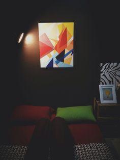 Dark bedroom and prism painting
