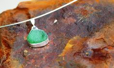 "Bright Green Sea Glass in a Sterling Silver Bezel Setting  18"" Cable Chain  £56.00"
