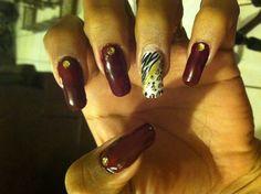 Blossom red nails w/ zebra