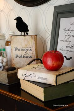 DIY Home Decor | Home Decor Accessories | Wrap old books with these free printables covers to create inexpensive yet spooky Halloween decor!