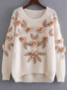 SheIn offers Apricot Flower Embellished Dip Hem Mohair Sweater & more to fit your fashionable needs. Girls Fashion Clothes, Teen Fashion Outfits, Clothes For Women, Cute Sweaters, Long Sweaters, Cardigan Sweaters, Long Cardigan, Cardigans For Women, T Shirts For Women