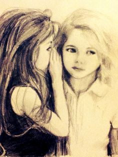 Cousins are the best of friends; pencil drawing by Emma Lane