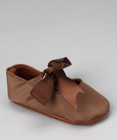 Take a look at this Brown Satin Mary Jane by Truffles Ruffles on #zulily today!