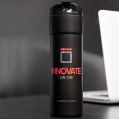 Spark your inner curiosity with the Innovate or Die Travel Mug from Startup Vitamins.