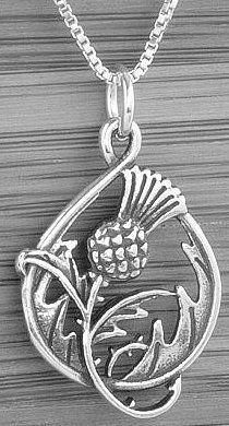 Handcast silver scottish thistle charm pendant free silver chain silver double sided scottish thistle pendantchain aloadofball Image collections