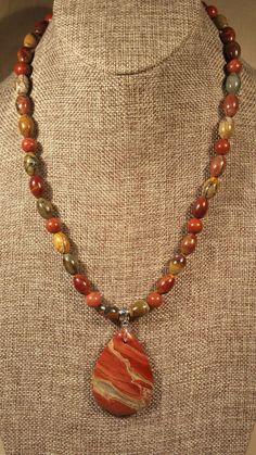 Rainbow Jasper Pendant Necklace of Picasso Jasper by SpringHammock