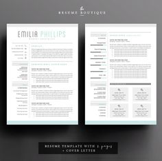 resume template 4 page cv template cover letter for ms word instant digital download the aqua - Microsoft Word Cover Letter Template