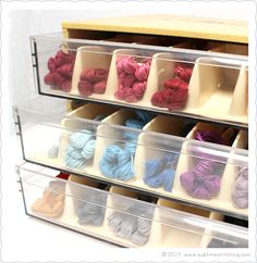 How-To: Embroidery Floss Organizing Rack – Sublime Stitching Embroidery Floss Storage, Embroidery Supplies, Hand Embroidery Designs, Craft Organization, Organizing, Cross Stitch Floss, Cross Stitch Supplies, Sewing Box, Fabric Storage