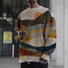 Casual Landscape Mountain Print Crew Neck Long Sleeve Sweatshirt for Men | Google Shopping Trendy Mens Fashion, Men's Fashion, Urban Fashion Men, Modern Fashion, Fashion Ideas, Fashion Inspiration, Looks Street Style, Landscape Prints, Mens Clothing Styles