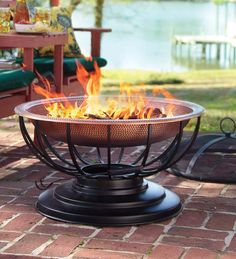 """Solid Hammered Copper Fire Pit With Lid Converts To Table, $400, 30""""d x 24""""h, includes copper table top and spark screen"""