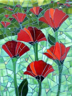 Red Flowers Poppies Mosaic Art - this would make a beautiful quilt! Mosaic Pots, Mosaic Wall, Mosaic Glass, Mosaic Mirrors, Pebble Mosaic, Stained Glass Patterns, Mosaic Patterns, Stained Glass Art, Mosaic Crafts