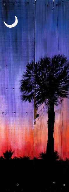 Palmetto Moon Canvas Print by Ashley Galloway. All canvas prints are professionally printed, assembled, and shipped within 3 - 4 business days and delivered ready-to-hang on your wall. Choose from multiple print sizes, border colors, and canvas materials. Moon Painting, Pallet Painting, Pallet Art, Painting On Wood, Painting & Drawing, Painting Canvas, Diy Painting, Palmetto Tree, Palmetto Moon