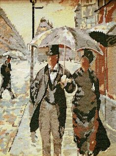 A picture taken from the artwork of the French Impressionist painted Gustave Caillebotte. Tent Stitch, Tapestry Kits, Impressionist Paintings, Traditional Looks, Rainy Days, The Incredibles, French, Paris, Canvas Prints