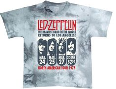 This Led Zeppelin tshirt spotlights the promotional poster for the band's March 1975 Los Angeles concerts, the last shows from their 1975 North American Tour. Our men's 100% gray cotton tie-dye tee features pictures of Led Zeppelin with the concert dates printed underneath each image. This shirt also has the Led Zeppelin logo, the Heaviest Band in the World Returns to Los Angeles, North American Tour 1975, the shows' 7:30 p.m. start time and $7.50 ticket price. #ledzeppelin #bandtees…