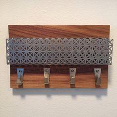 Industrial Modern, walnut wood, perforated steel magnetic magazine rack, mail holder, iPad pocket, coat rack, key rack, home organization