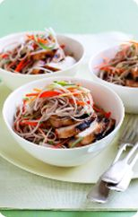 Warm teriyaki chicken noodle salad