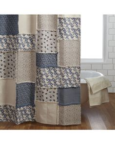 red and white floral patchwork shower curtain... doable   CURTAIN ...