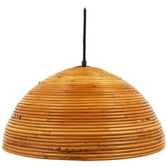 French Mid-Century Bamboo Hemispherical Pendant Light from the Chandelier Pendant Lights, Modern Chandelier, Pendant Lamp, Chandeliers, Bamboo Pendant Light, Bamboo Basket, North Carolina Homes, Dining Area, Wicker
