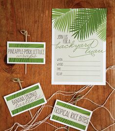 Set the mood for this tropical get-together from the invitation to the favors, with free printables - Backyard Luau Invitation, Backyard Luau Food Cards, Backyard Luau Food Cards (blank), Backyard Luau Favor Tags.